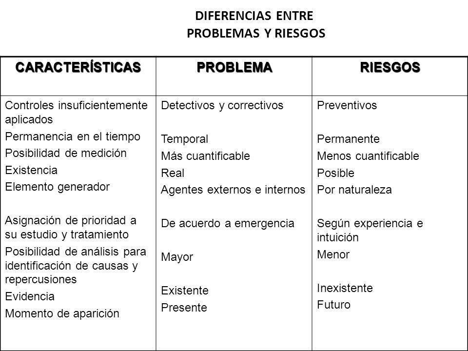 DIFERENCIAS ENTRE PROBLEMAS Y RIESGOS