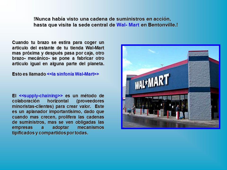 !Nunca había visto una cadena de suministros en acción, hasta que visite la sede central de Wal- Mart en Bentonville.!