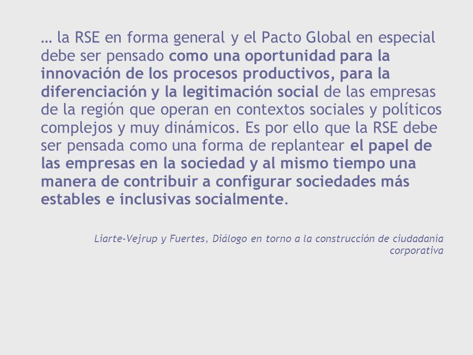 … la RSE en forma general y el Pacto Global en especial debe ser pensado como una oportunidad para la innovación de los procesos productivos, para la diferenciación y la legitimación social de las empresas de la región que operan en contextos sociales y políticos complejos y muy dinámicos. Es por ello que la RSE debe ser pensada como una forma de replantear el papel de las empresas en la sociedad y al mismo tiempo una manera de contribuir a configurar sociedades más estables e inclusivas socialmente.