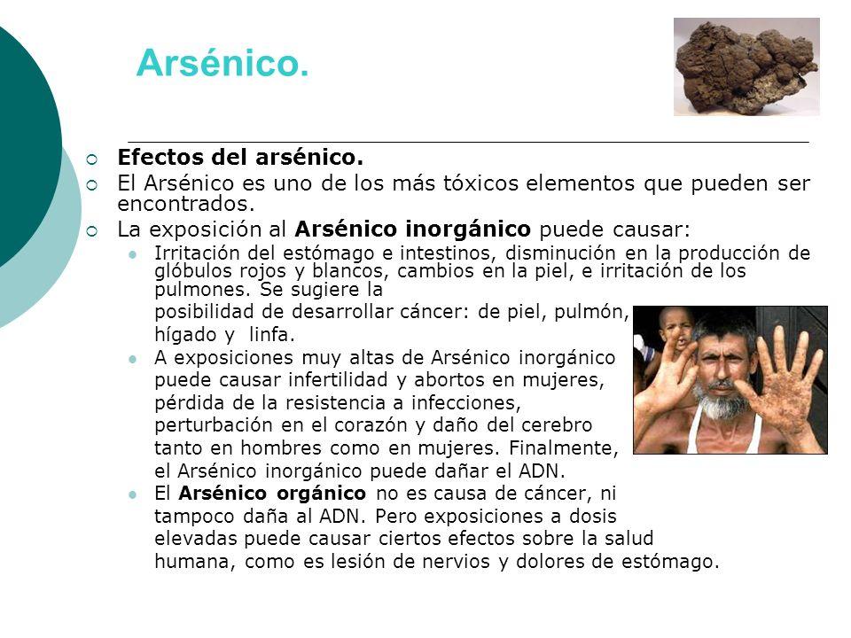Arsénico. Efectos del arsénico.