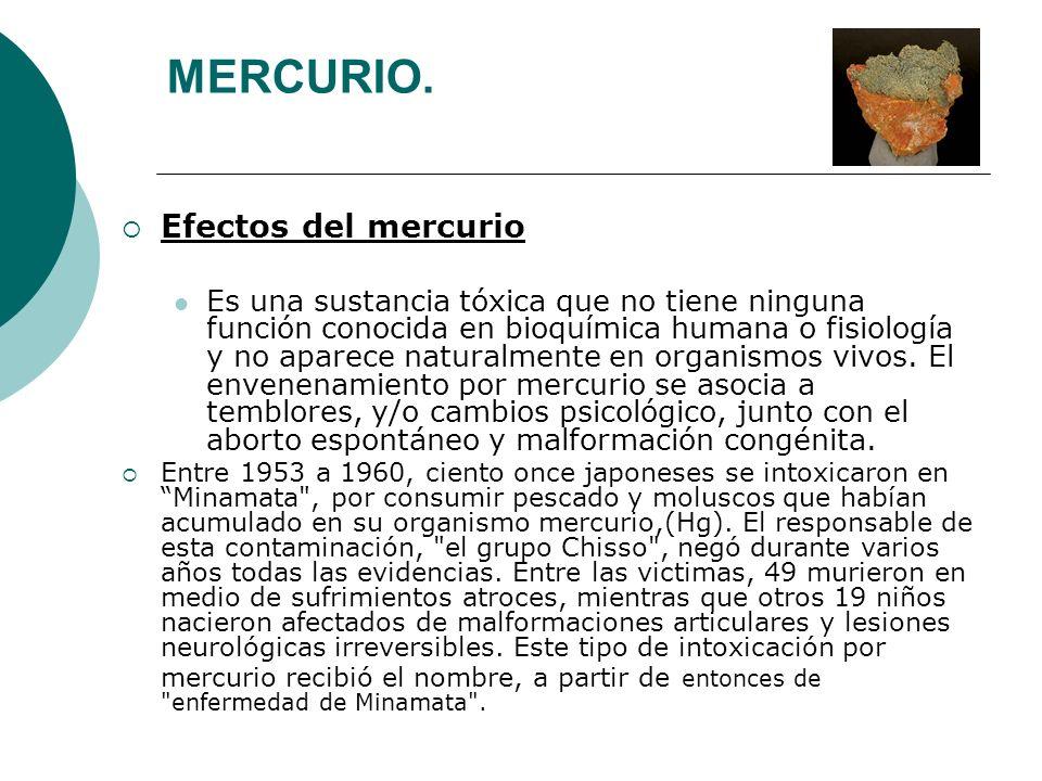 MERCURIO. Efectos del mercurio