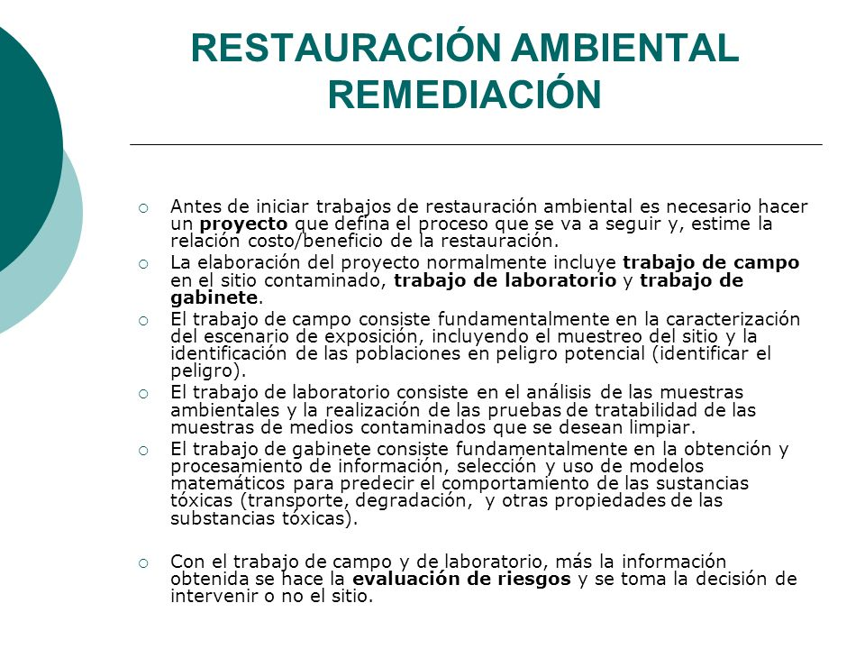 RESTAURACIÓN AMBIENTAL REMEDIACIÓN
