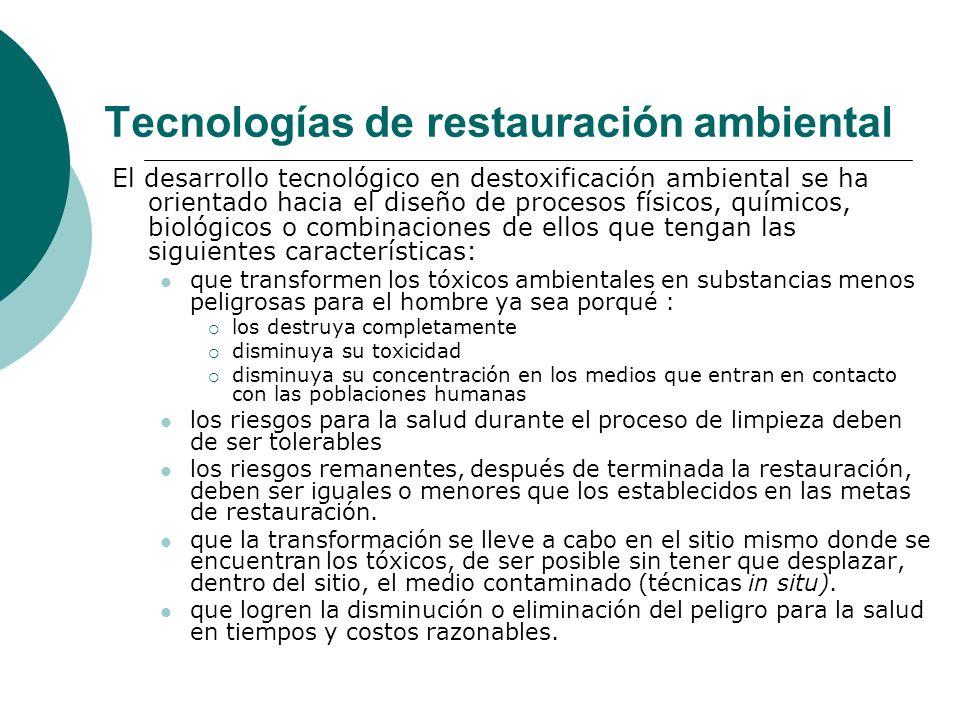 Tecnologías de restauración ambiental
