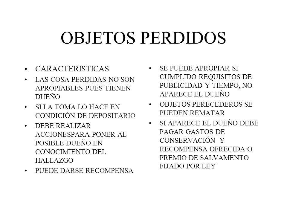 OBJETOS PERDIDOS CARACTERISTICAS