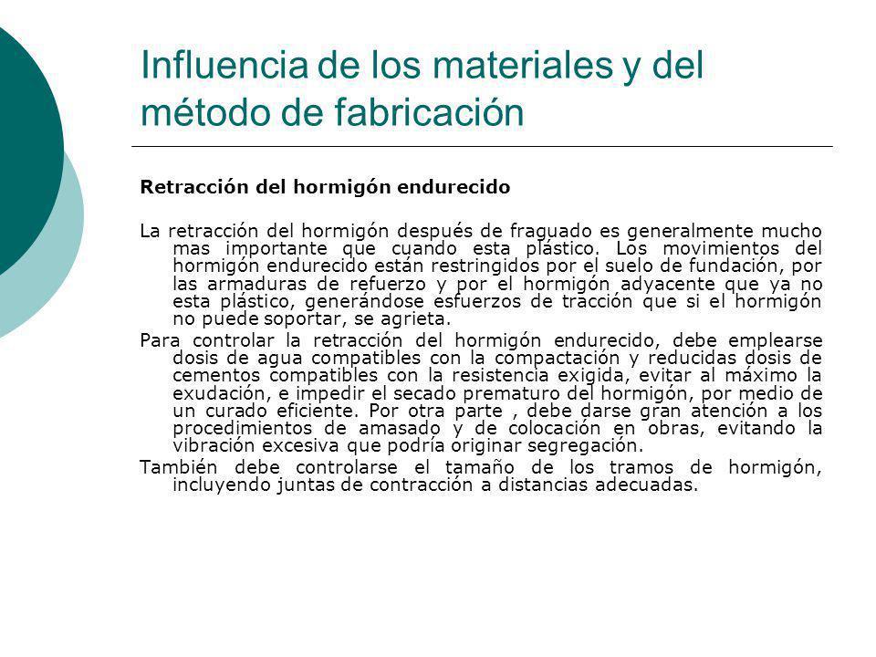 Influencia de los materiales y del método de fabricación