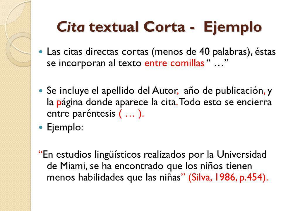 Cita textual Corta - Ejemplo