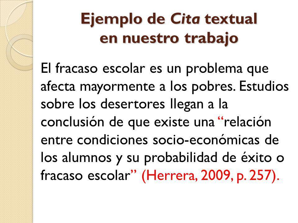 Ejemplo de Cita textual en nuestro trabajo