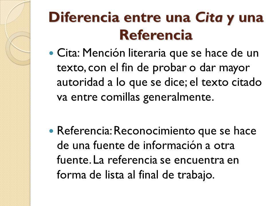 Diferencia entre una Cita y una Referencia