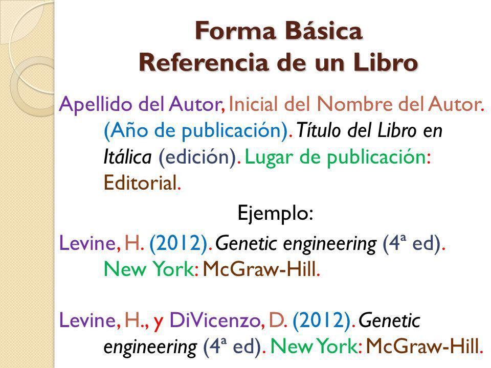 Forma Básica Referencia de un Libro
