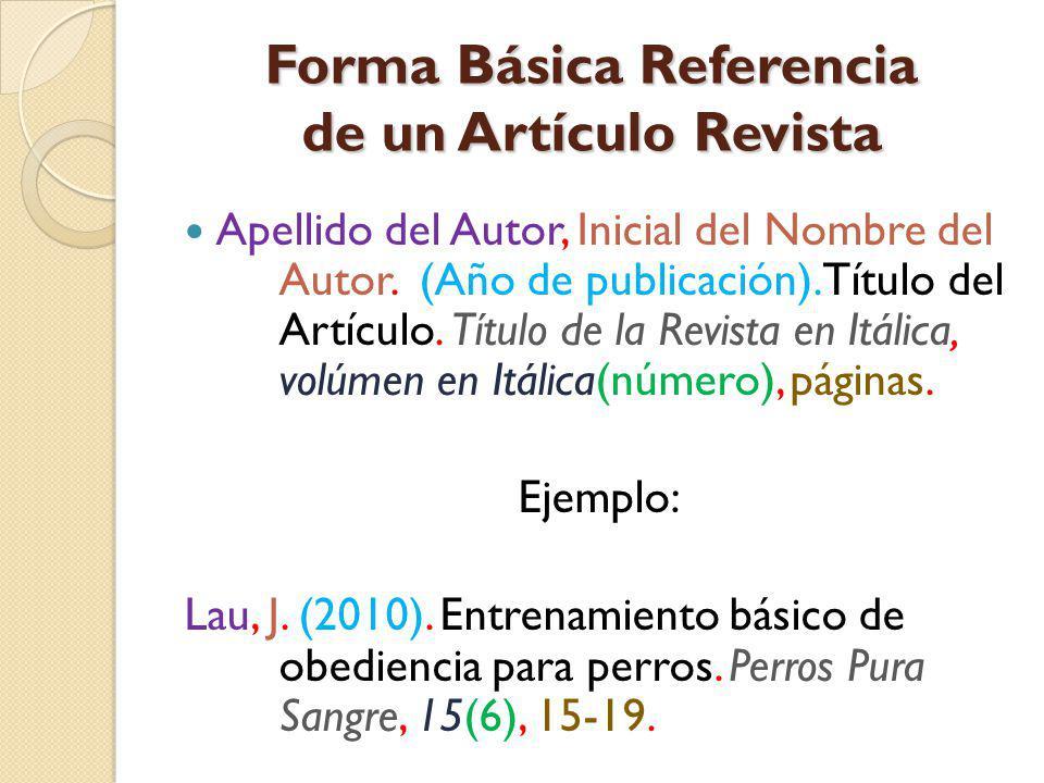Forma Básica Referencia de un Artículo Revista