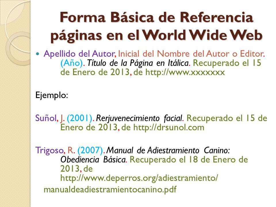 Forma Básica de Referencia páginas en el World Wide Web