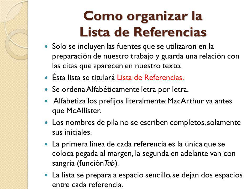 Como organizar la Lista de Referencias
