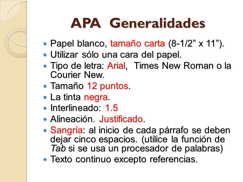 APA Generalidades Papel blanco, tamaño carta (8-1/2 x 11 ).