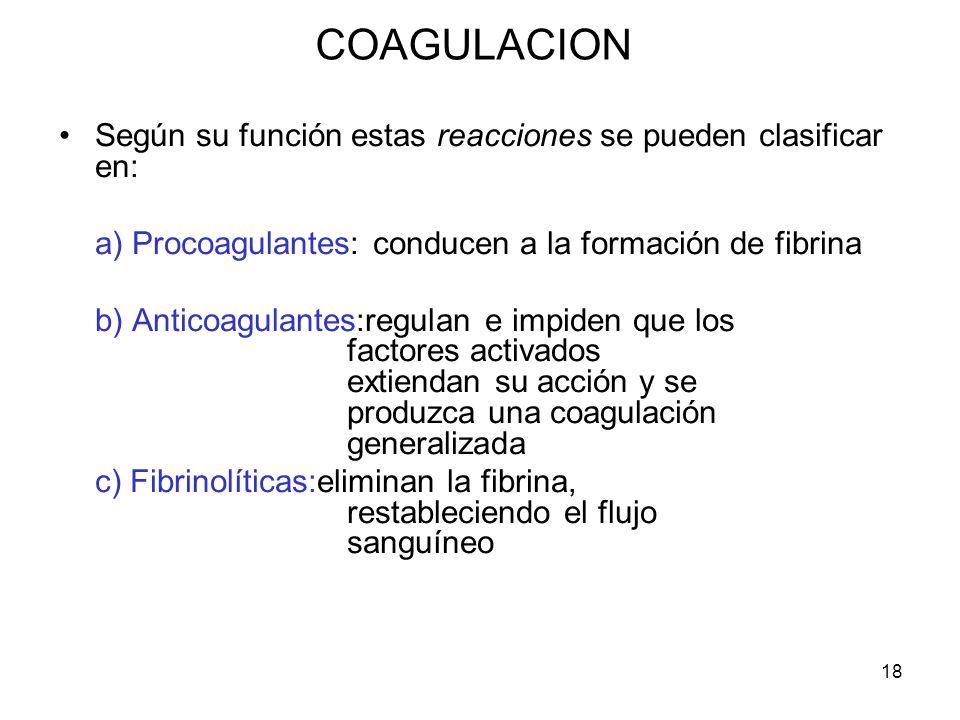 COAGULACION Según su función estas reacciones se pueden clasificar en: