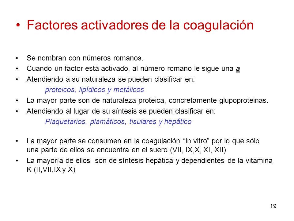 Factores activadores de la coagulación