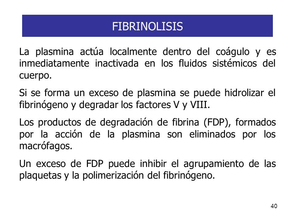 FIBRINOLISIS La plasmina actúa localmente dentro del coágulo y es inmediatamente inactivada en los fluidos sistémicos del cuerpo.