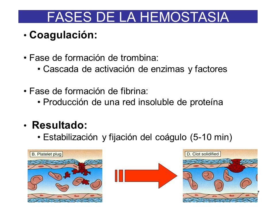 FASES DE LA HEMOSTASIA Coagulación: Fase de formación de trombina: