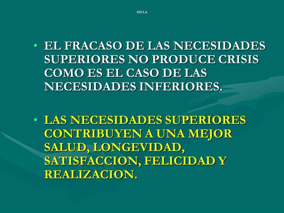 HOLA EL FRACASO DE LAS NECESIDADES SUPERIORES NO PRODUCE CRISIS COMO ES EL CASO DE LAS NECESIDADES INFERIORES.