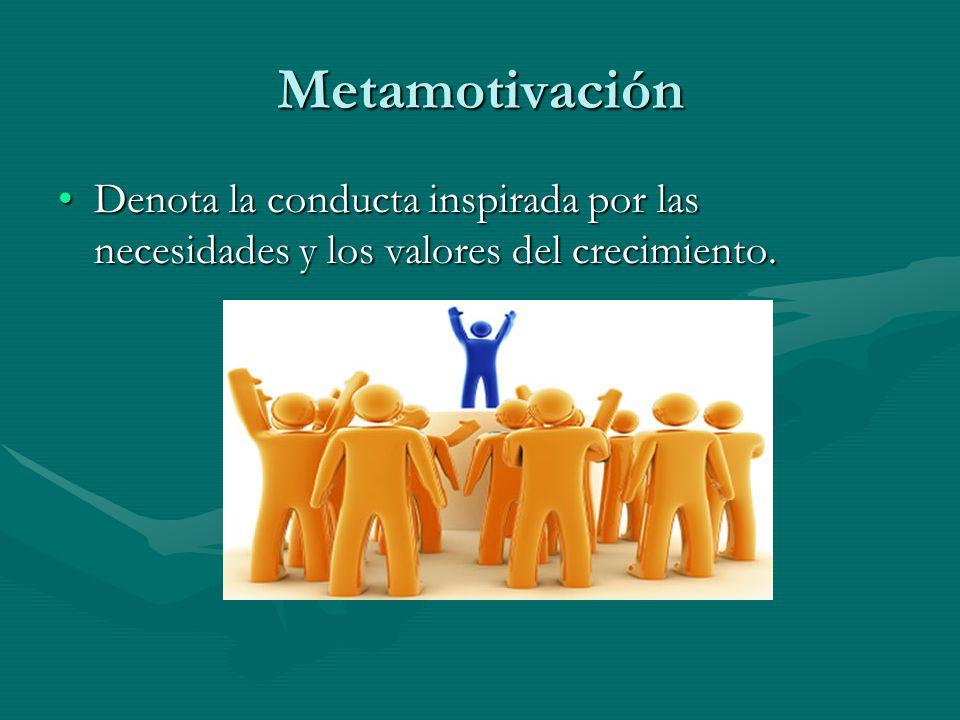Metamotivación Denota la conducta inspirada por las necesidades y los valores del crecimiento.
