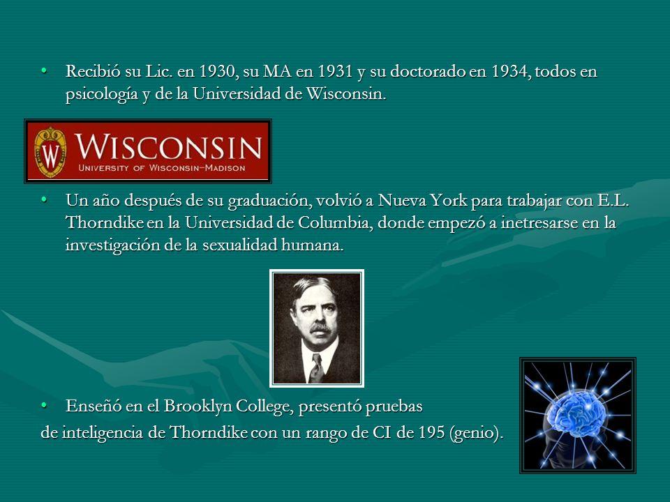Recibió su Lic. en 1930, su MA en 1931 y su doctorado en 1934, todos en psicología y de la Universidad de Wisconsin.