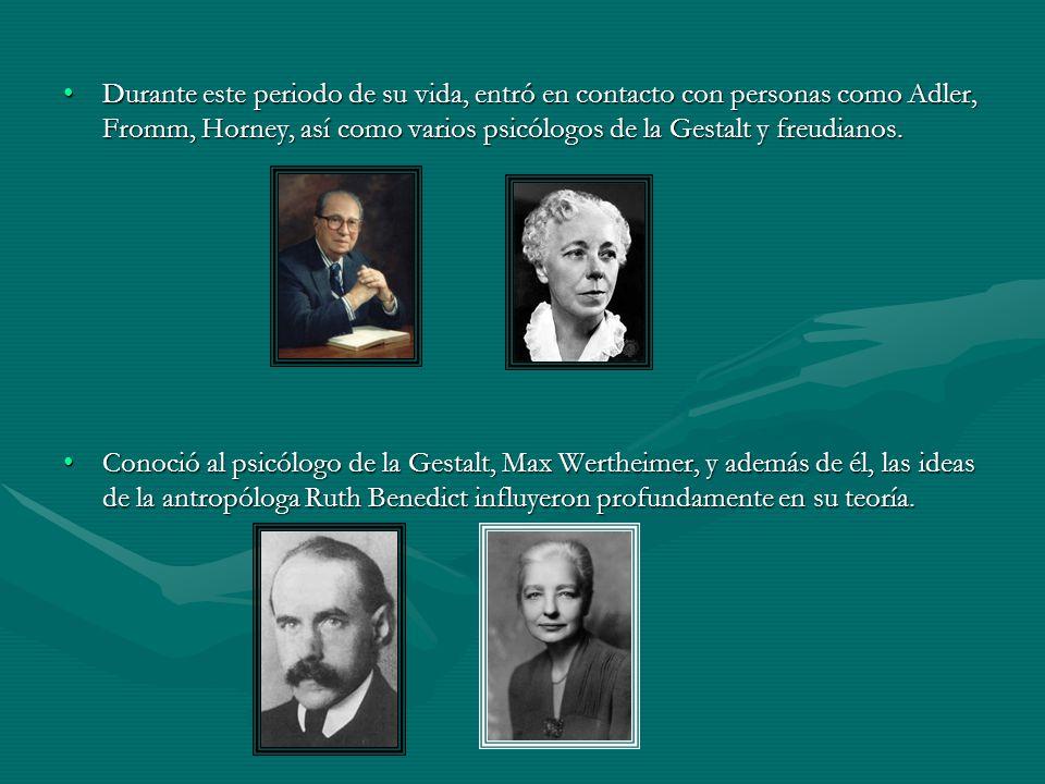 Durante este periodo de su vida, entró en contacto con personas como Adler, Fromm, Horney, así como varios psicólogos de la Gestalt y freudianos.