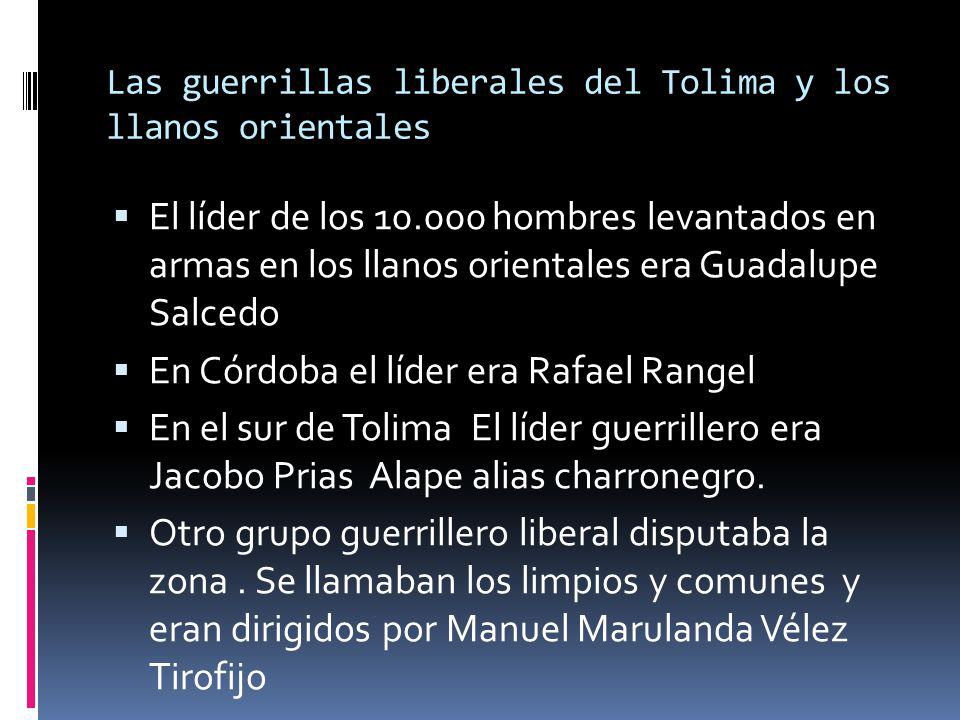 Las guerrillas liberales del Tolima y los llanos orientales