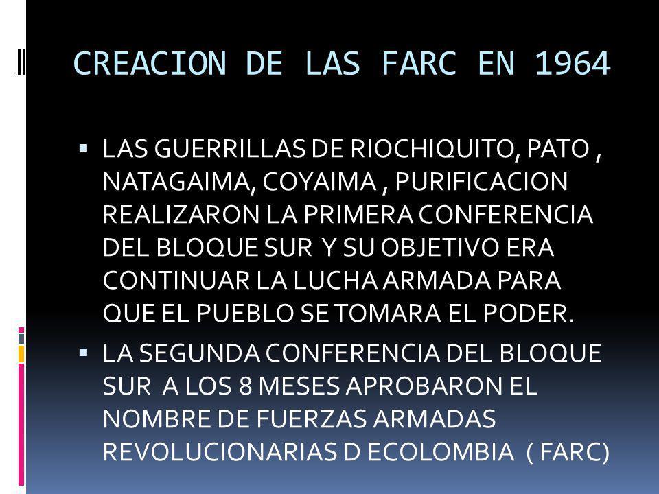 CREACION DE LAS FARC EN 1964