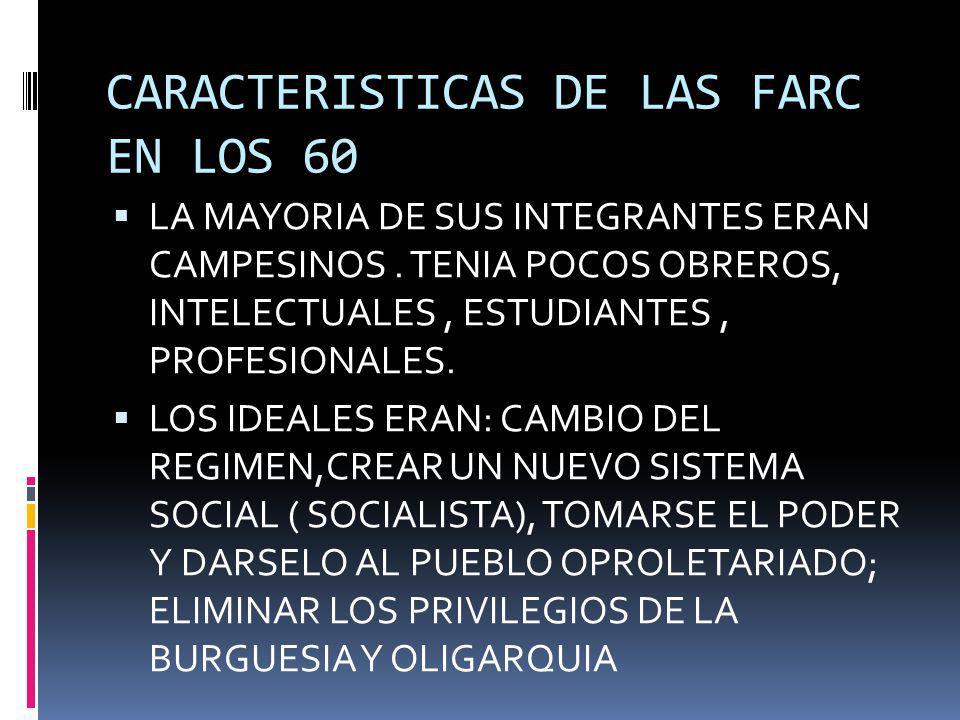 CARACTERISTICAS DE LAS FARC EN LOS 60