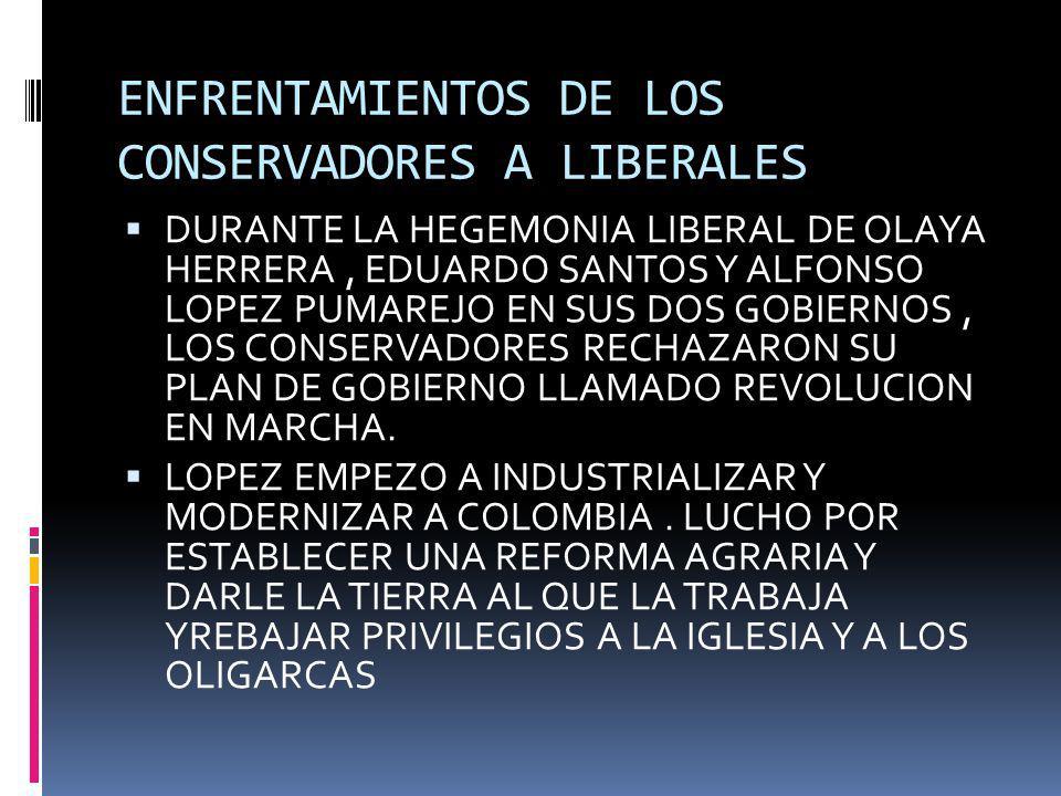 ENFRENTAMIENTOS DE LOS CONSERVADORES A LIBERALES