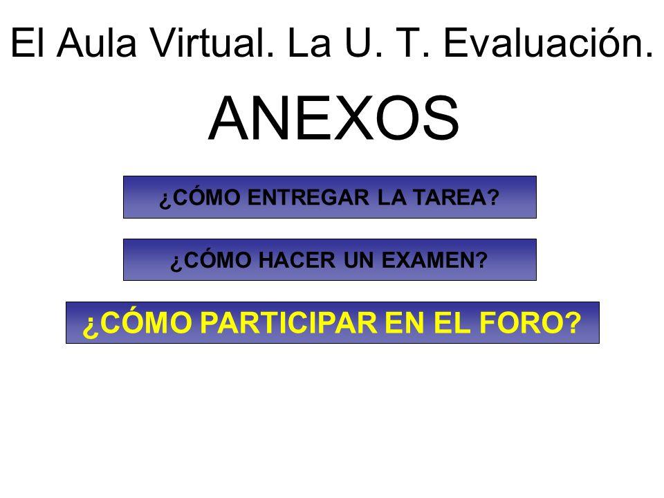 El Aula Virtual. La U. T. Evaluación.