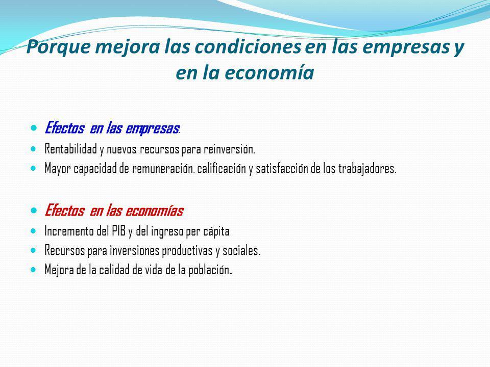 Porque mejora las condiciones en las empresas y en la economía