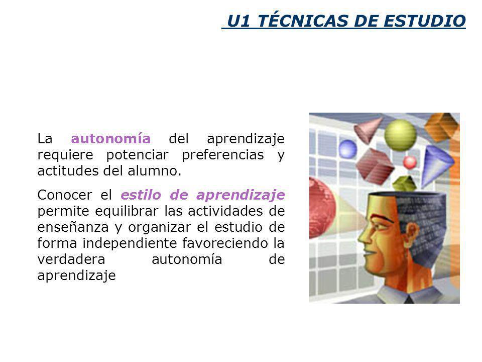 U1 TÉCNICAS DE ESTUDIO La autonomía del aprendizaje requiere potenciar preferencias y actitudes del alumno.