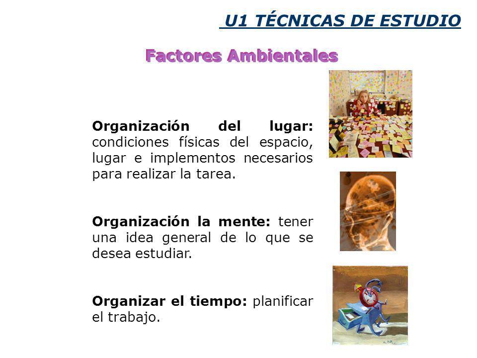 U1 TÉCNICAS DE ESTUDIO Factores Ambientales