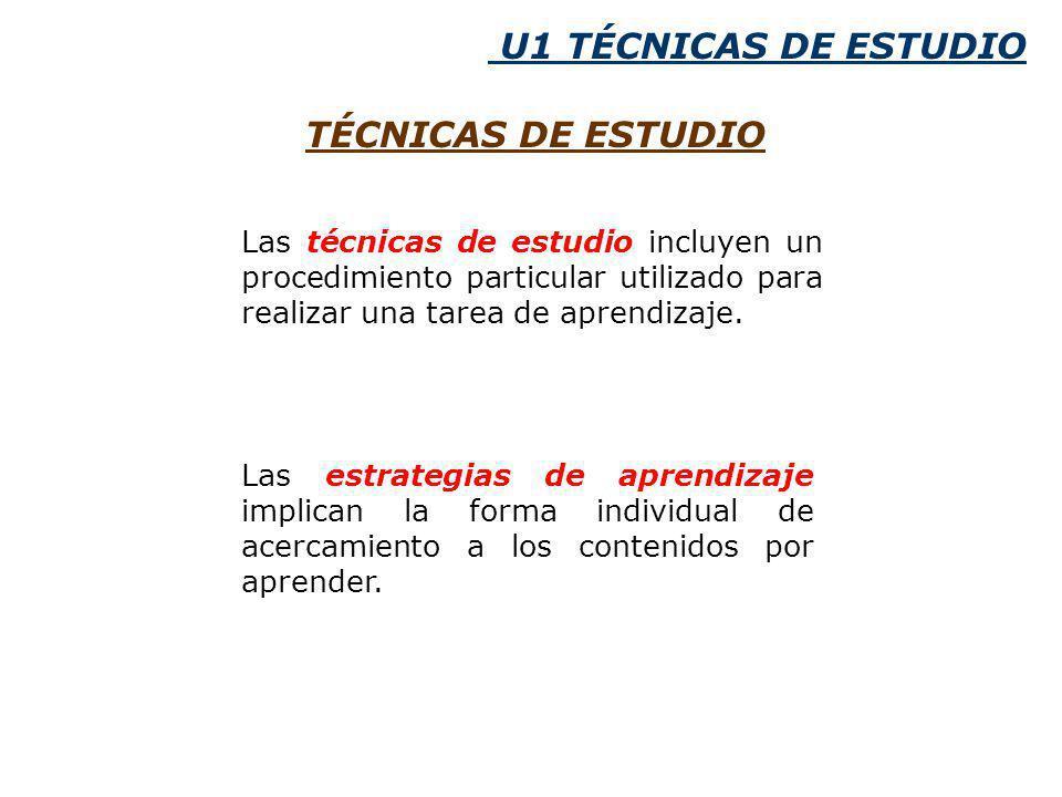 U1 TÉCNICAS DE ESTUDIO TÉCNICAS DE ESTUDIO