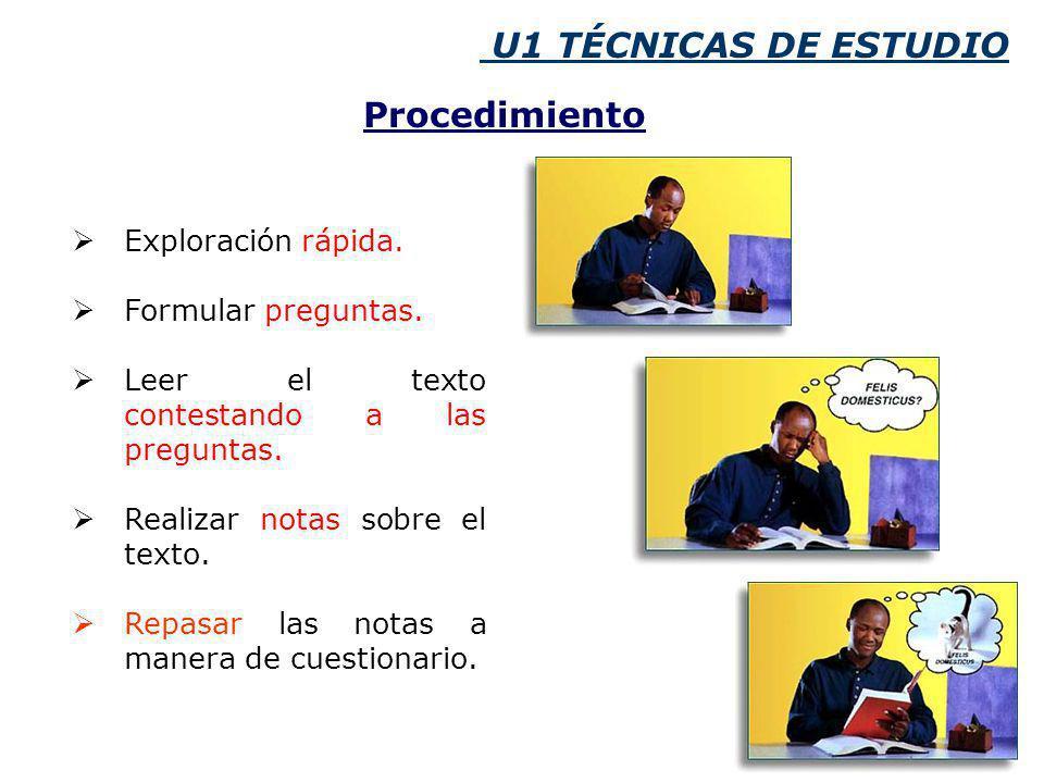 U1 TÉCNICAS DE ESTUDIO Procedimiento