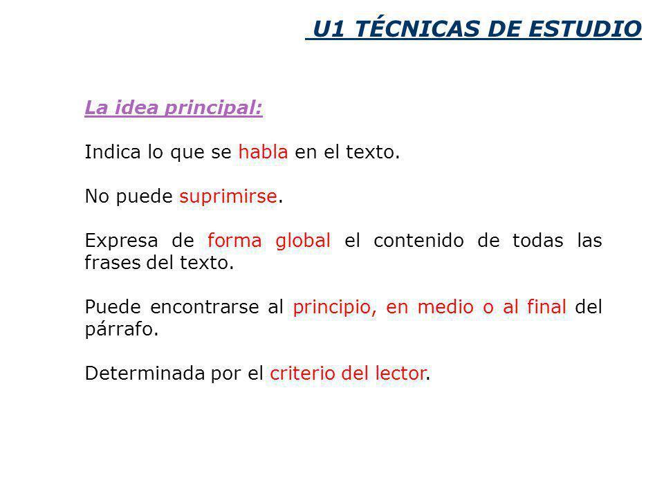 U1 TÉCNICAS DE ESTUDIO La idea principal:
