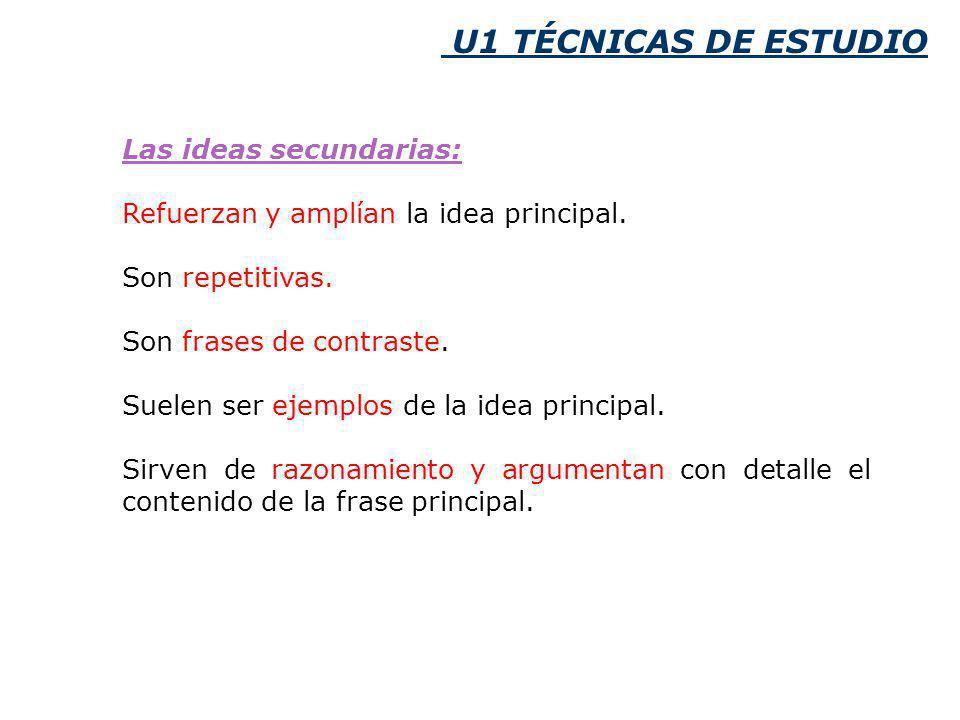 U1 TÉCNICAS DE ESTUDIO Las ideas secundarias: