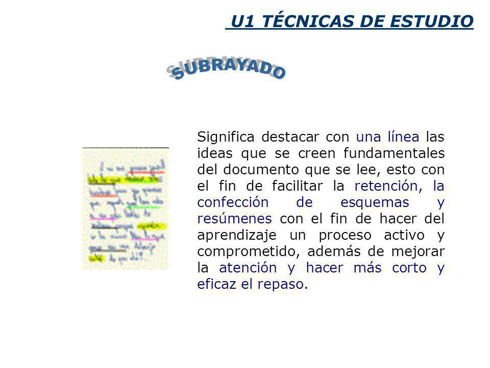 SUBRAYADO U1 TÉCNICAS DE ESTUDIO