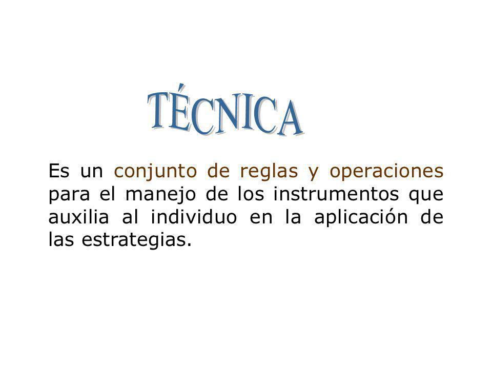 TÉCNICA Es un conjunto de reglas y operaciones para el manejo de los instrumentos que auxilia al individuo en la aplicación de las estrategias.