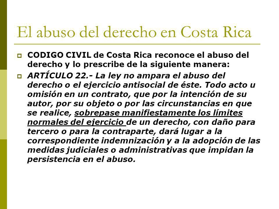 El abuso del derecho en Costa Rica
