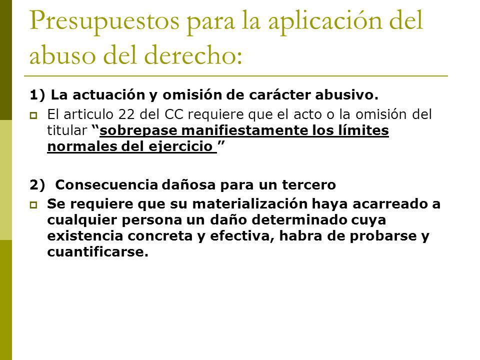 Presupuestos para la aplicación del abuso del derecho: