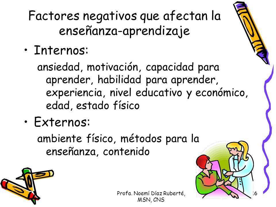 Factores negativos que afectan la enseñanza-aprendizaje
