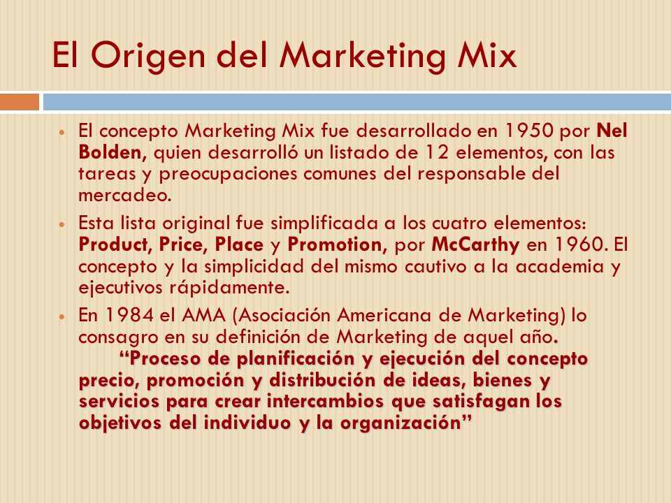 El Origen del Marketing Mix