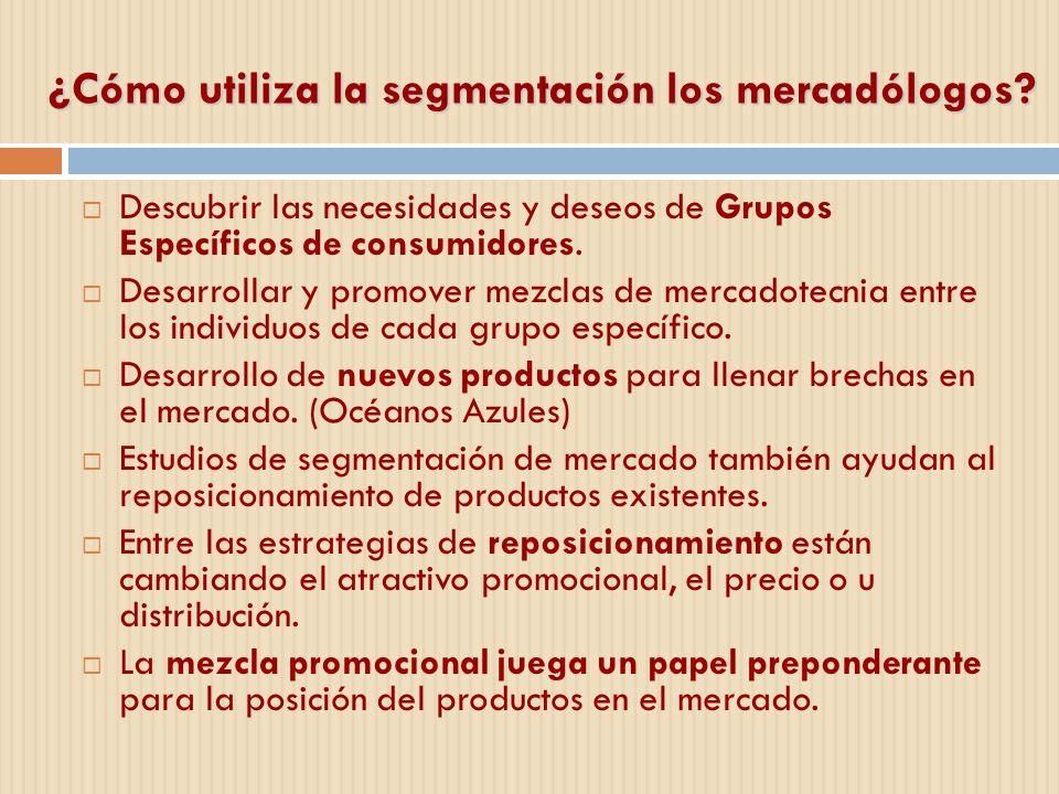 ¿Cómo utiliza la segmentación los mercadólogos