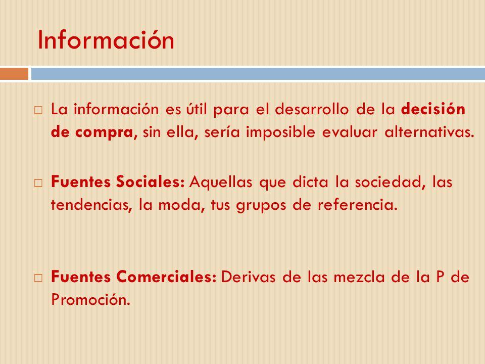 Información La información es útil para el desarrollo de la decisión de compra, sin ella, sería imposible evaluar alternativas.