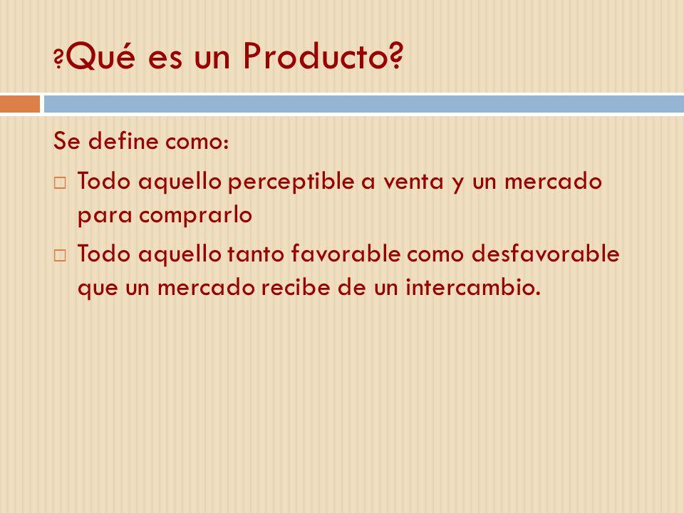 Qué es un Producto Se define como: