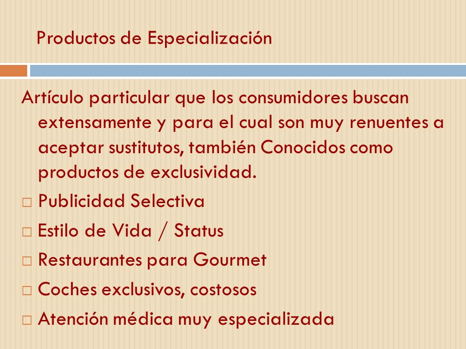 Productos de Especialización