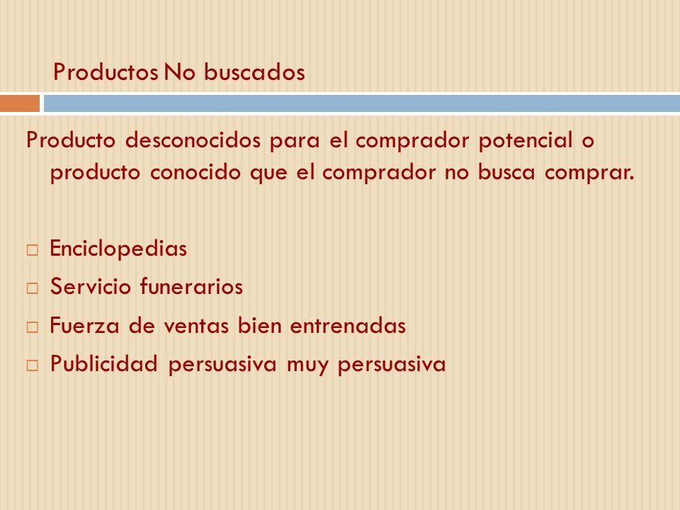 Productos No buscados Producto desconocidos para el comprador potencial o producto conocido que el comprador no busca comprar.