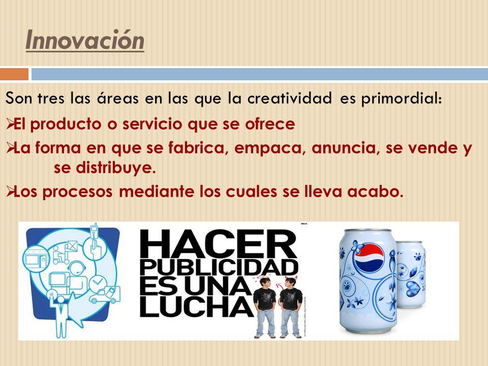 Innovación Son tres las áreas en las que la creatividad es primordial: