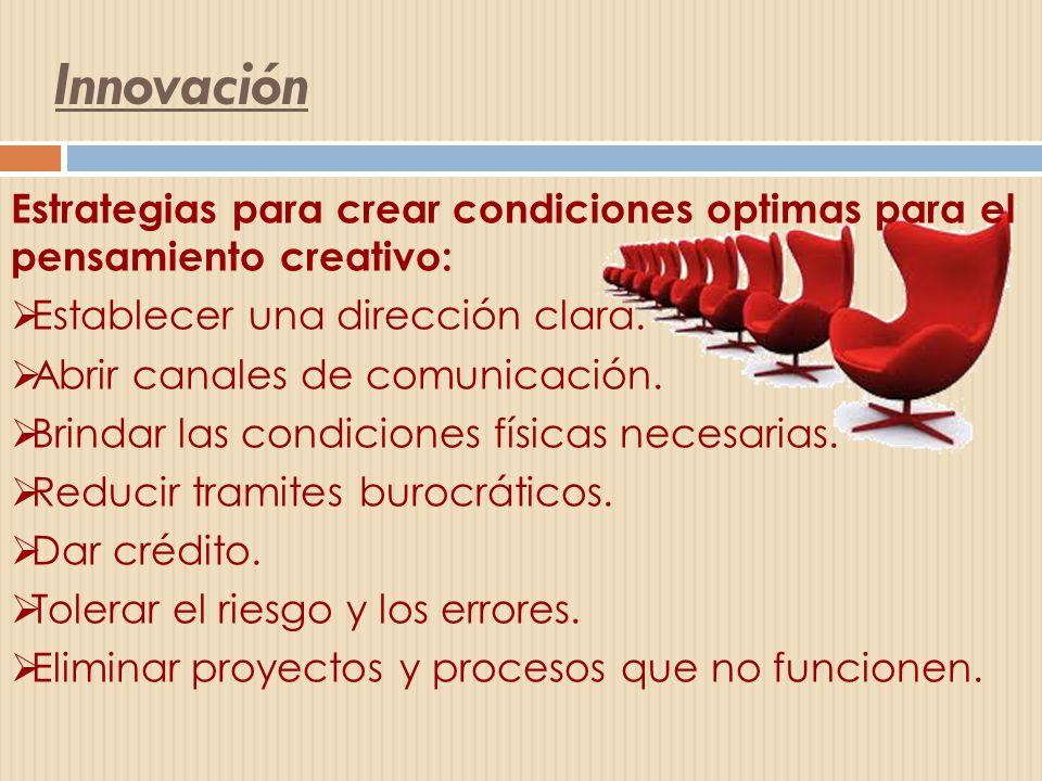 Innovación Estrategias para crear condiciones optimas para el pensamiento creativo: Establecer una dirección clara.